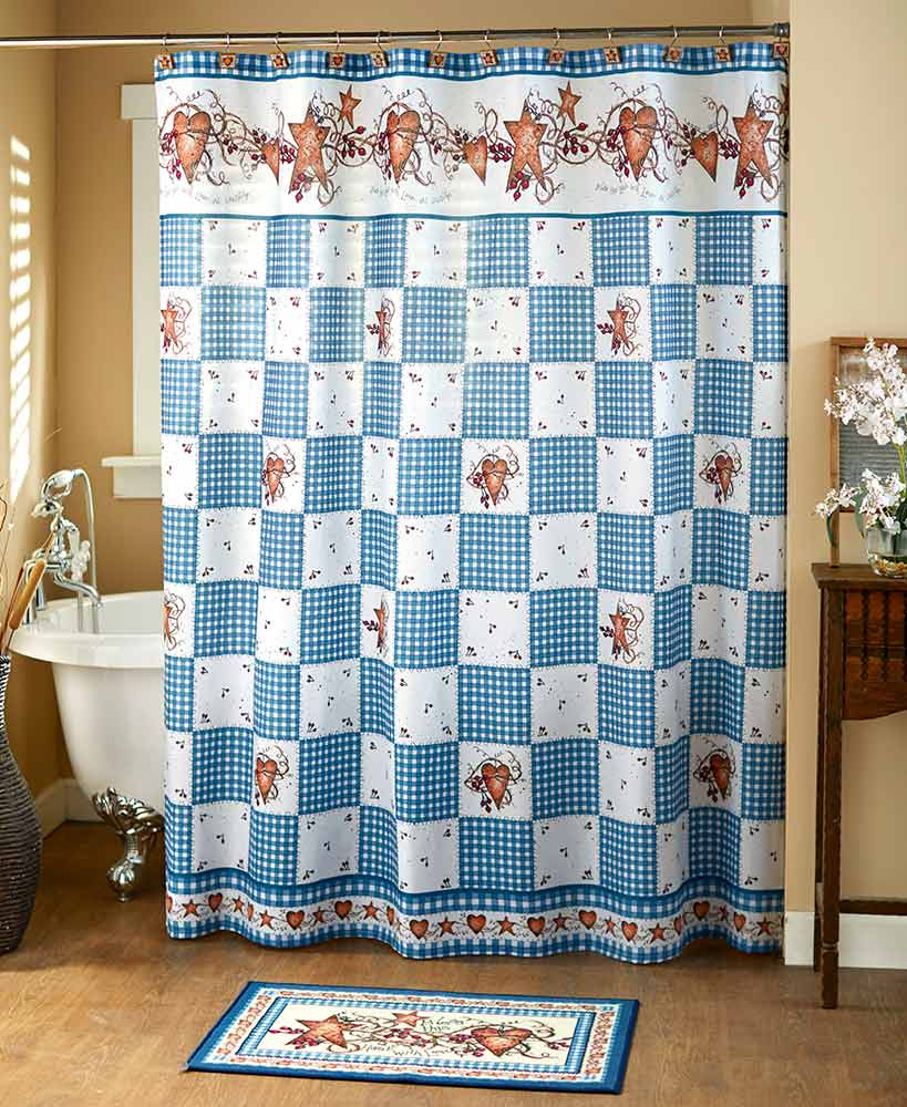 Blue and white country plaid hearts and stars shower curtain
