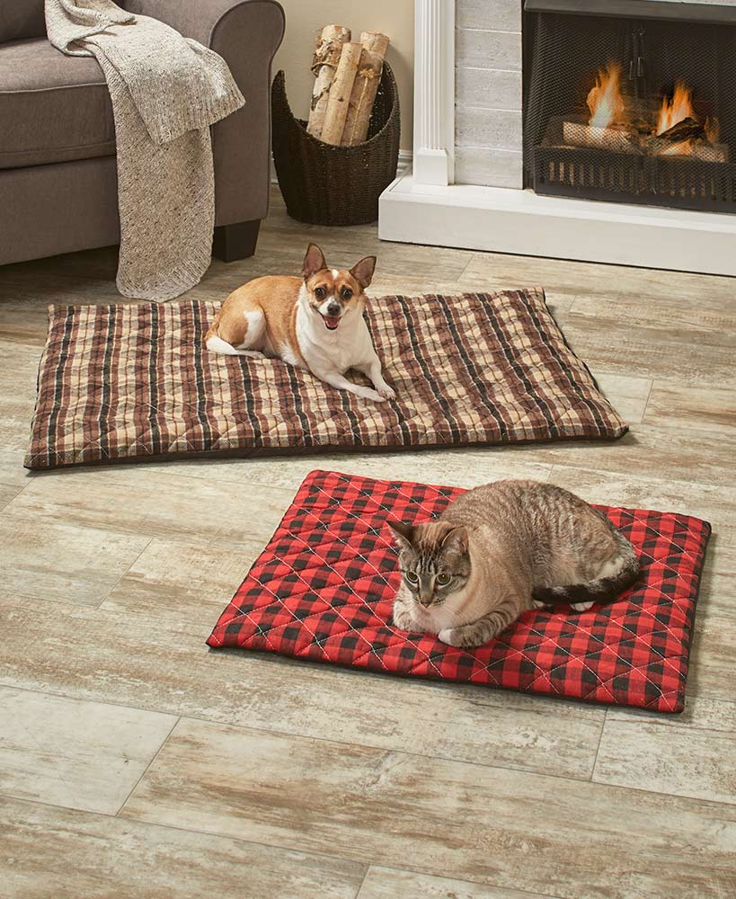 Plaid dog and cat beds