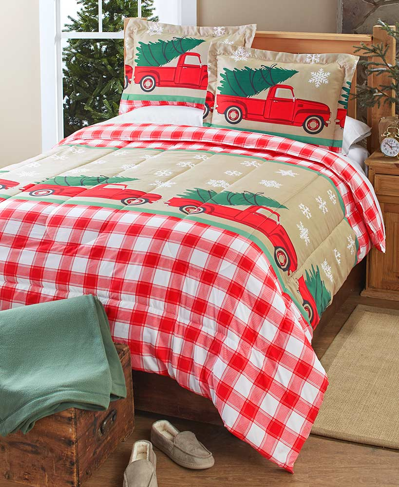 Red country plaid comforter with christmas trees and trucks