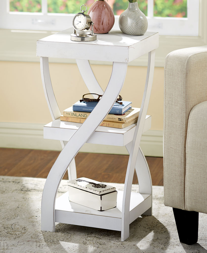 Rustic Decor White Wood Twisted Side Table