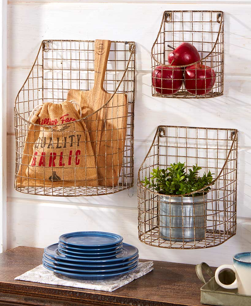 Rustic Decor Metal Farmhouse Wall Baskets
