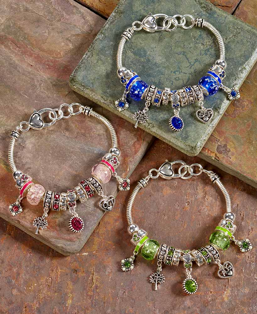 Metal And Glass Birthstone Bead Bracelets