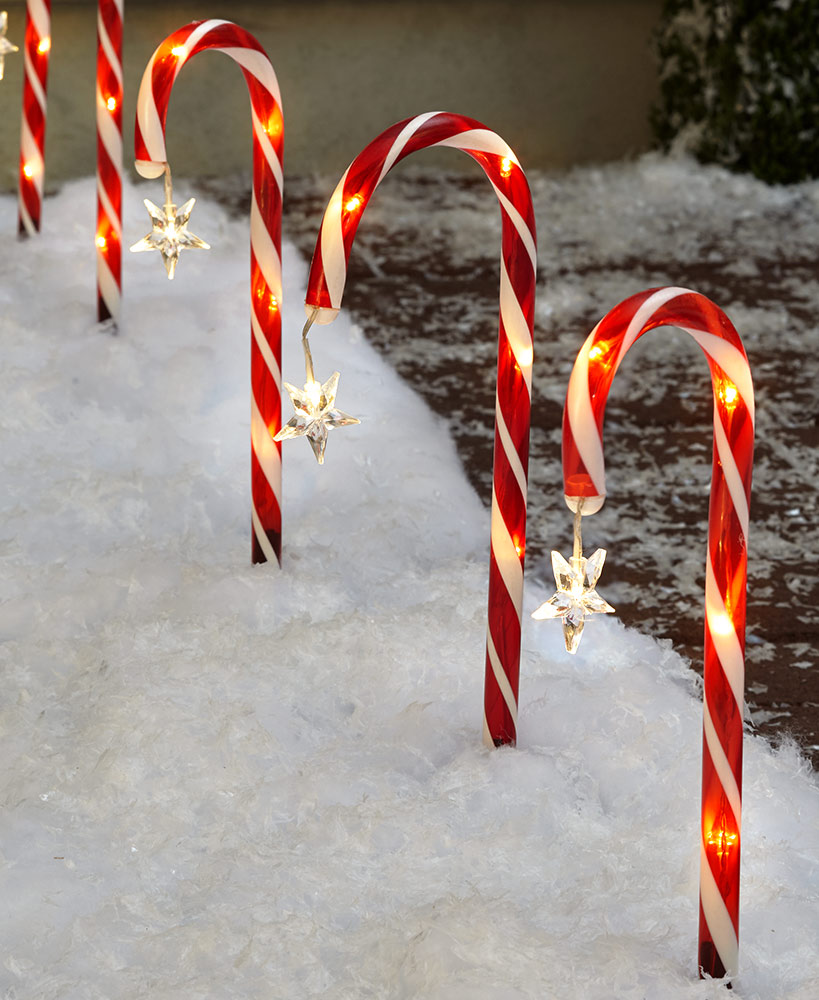 Solar Candy Cane Yard Stakes
