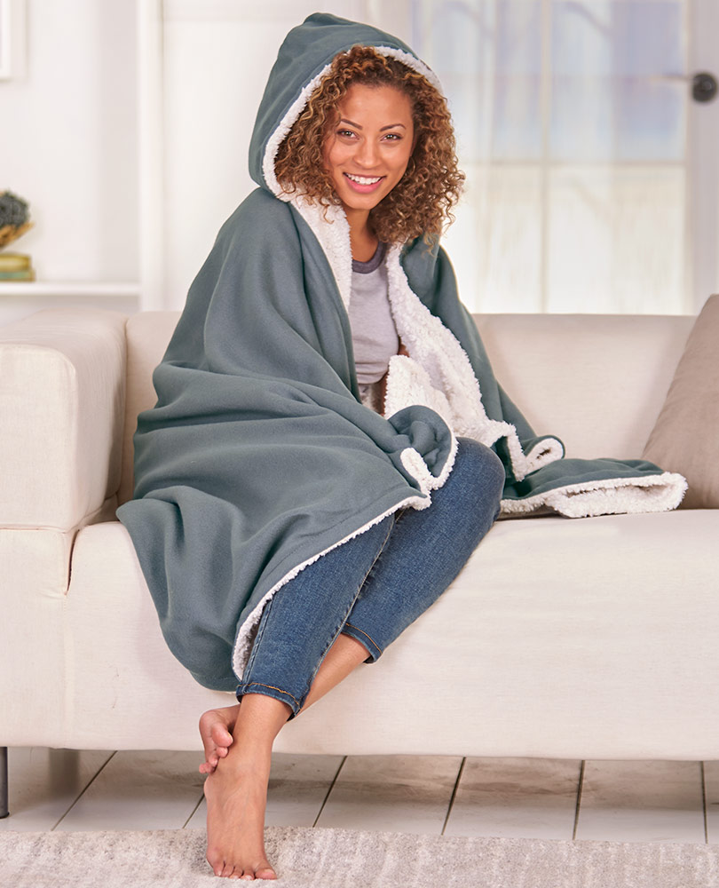 Hooded Fleece And Sherpa Throws