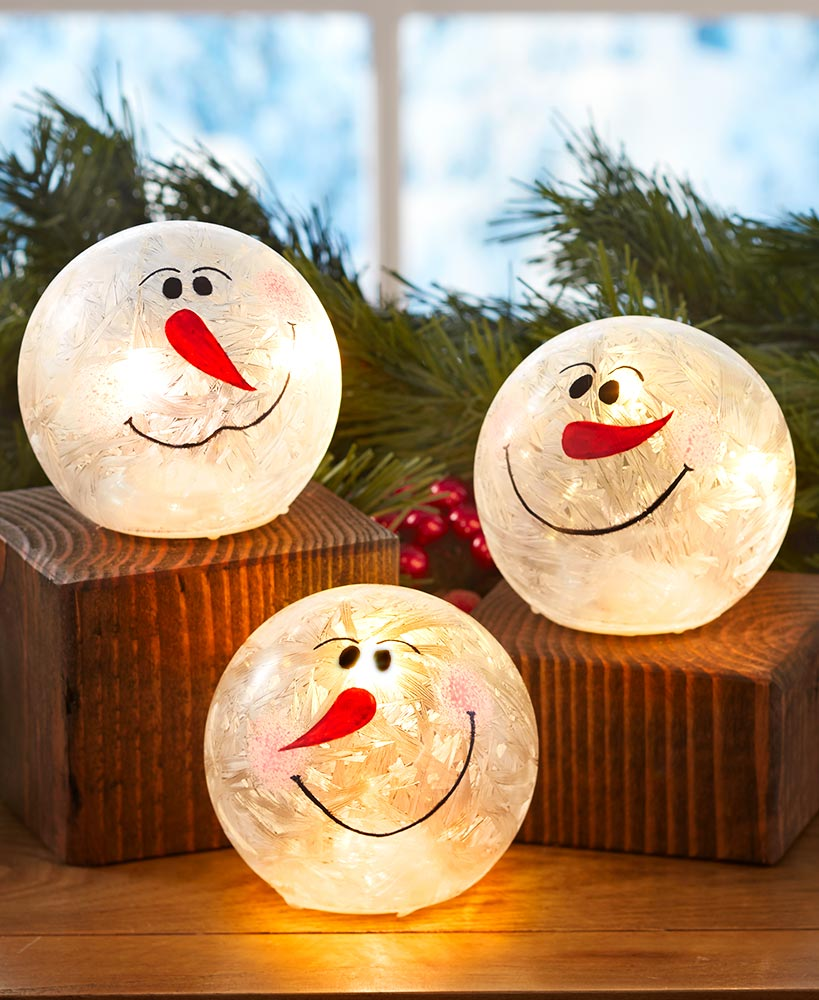 Glass Lighted Snowballs
