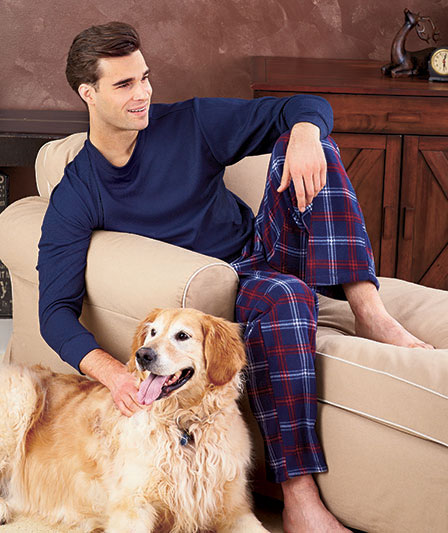 Men's Thermal And Fleece Plaid Pajama Set