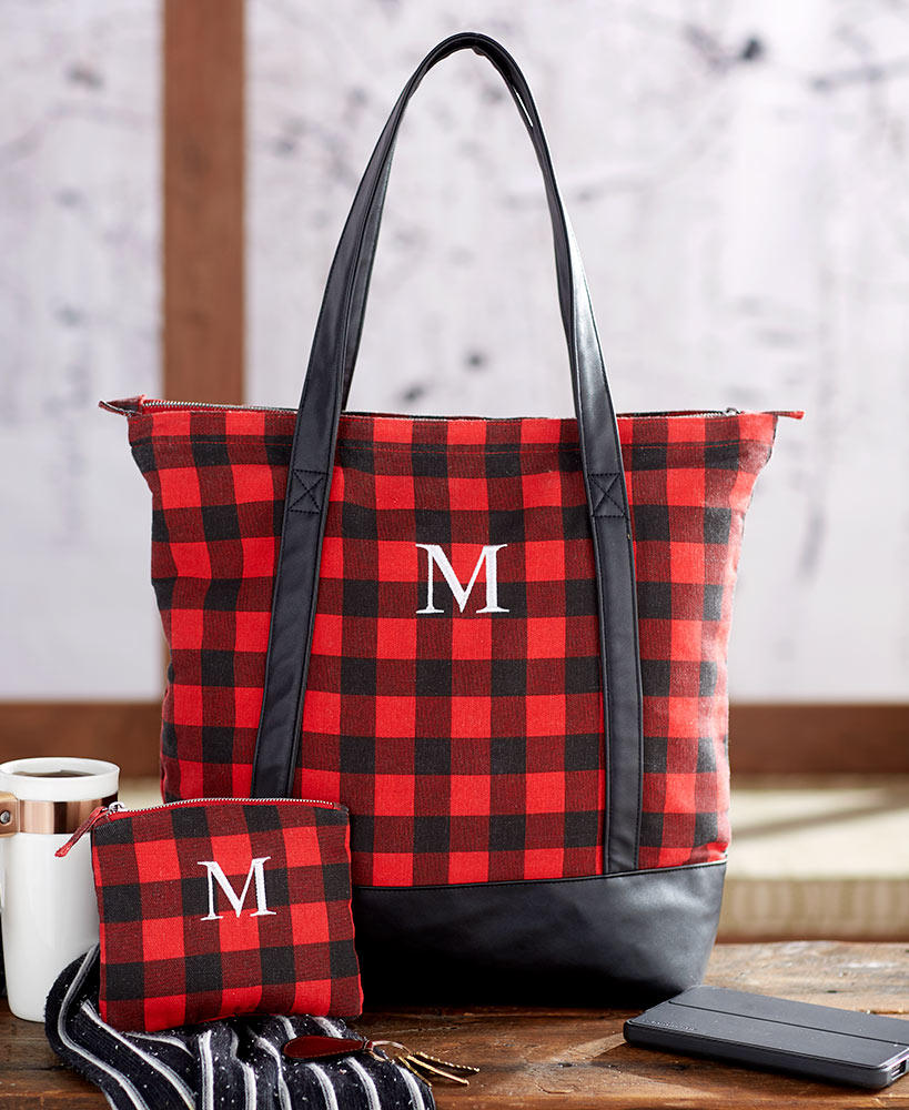 Monogram Buffalo Plaid Tote