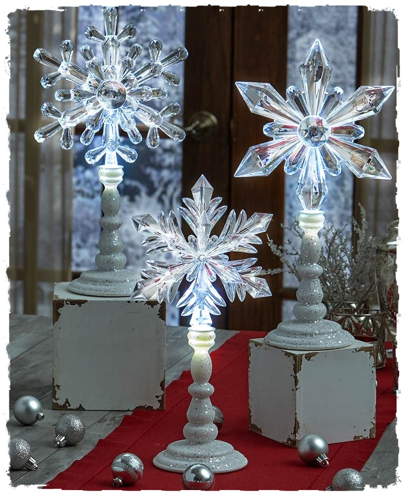 Elegant Lighted Snowflake On Stand