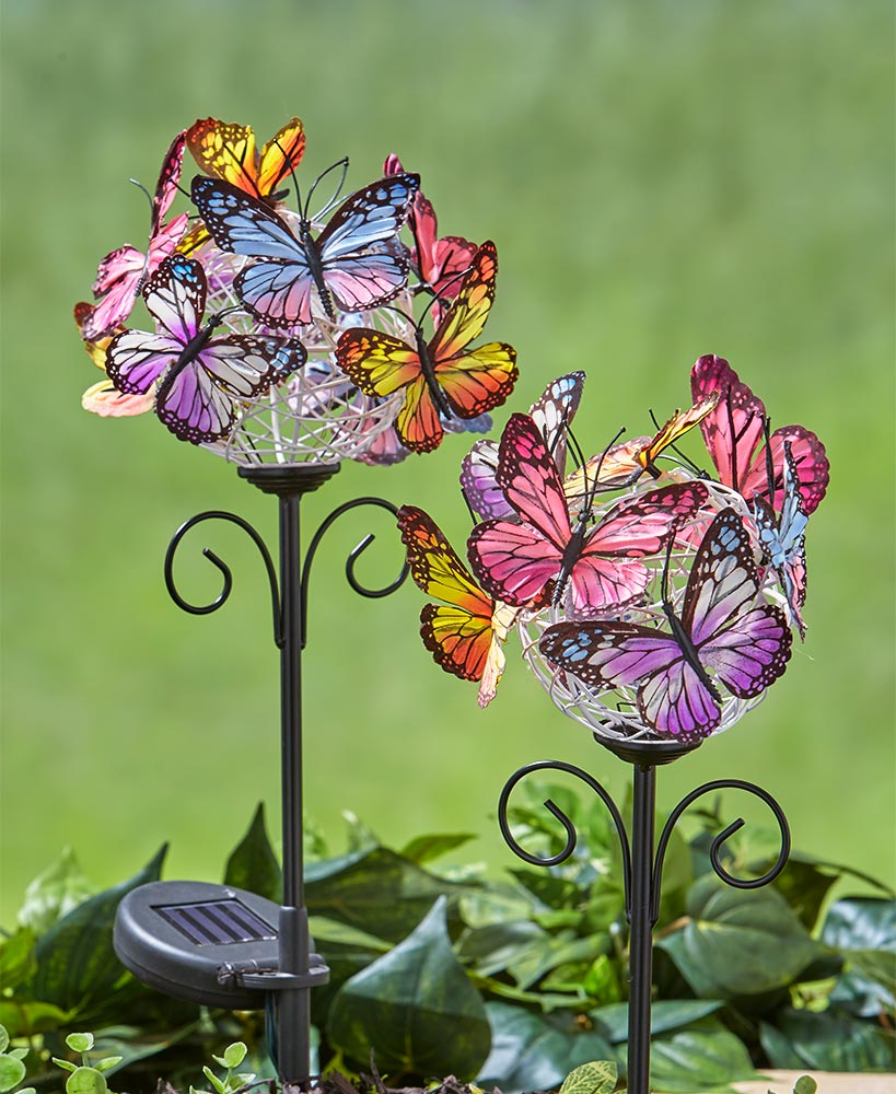 Set of 2 Solar Butterfly Stakes