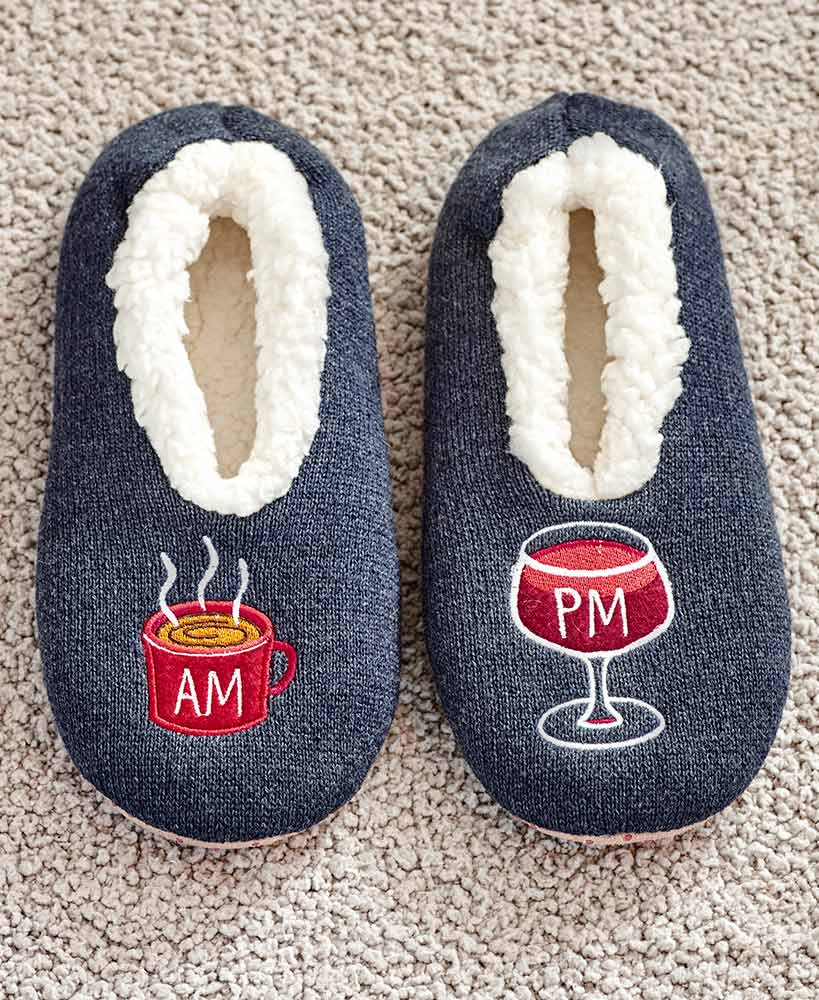 Coffee And Wine Sherpa Slippers