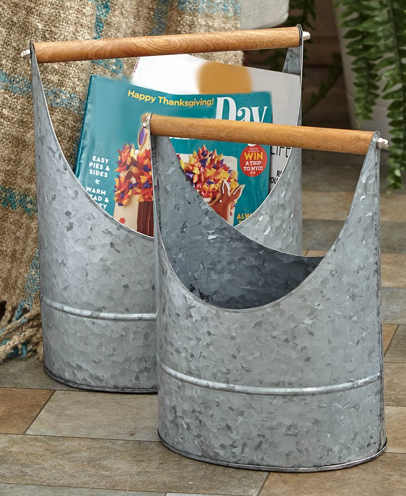Kitchen Storage Ideas - Galvanized Buckets With Handles