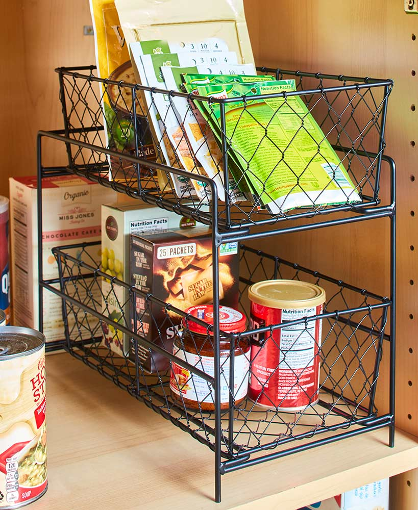 Kitchen Storage Ideas - 2-Tier Country Storage Baskets