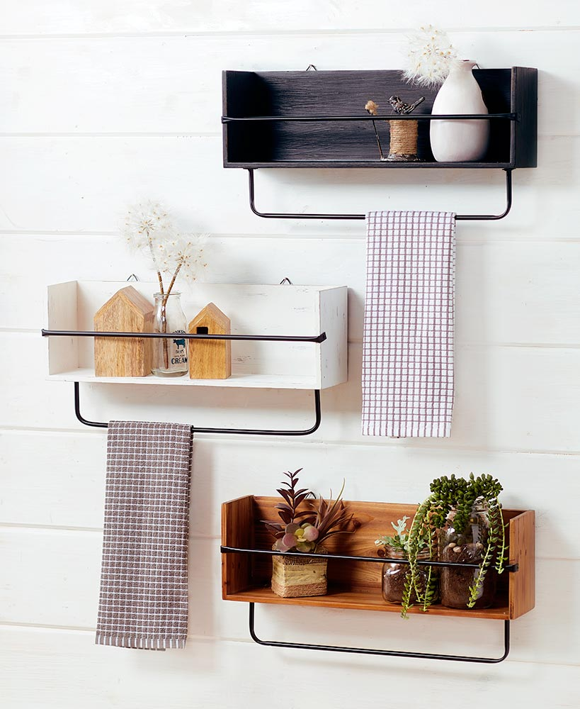 Kitchen Storage Ideas - Farmhouse Wall Shelf With Towel Bar