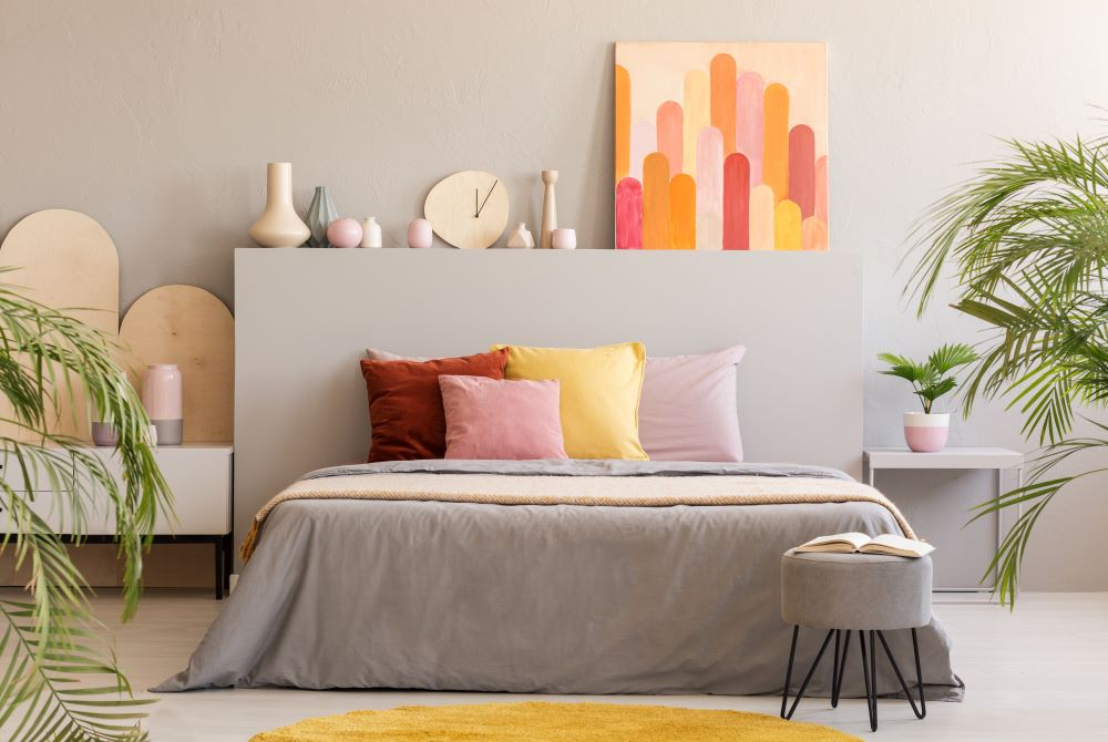 Colorful Bedroom With Headboard Shelf