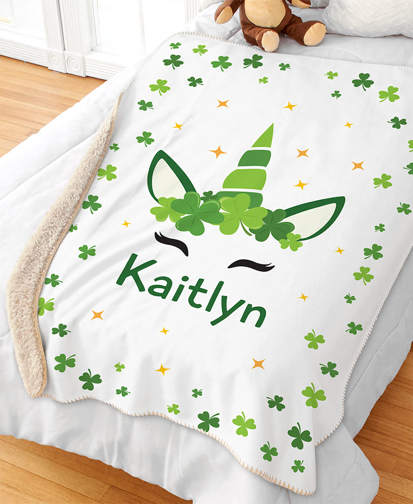 Personalized Irish Unicorn Sherpa Throw