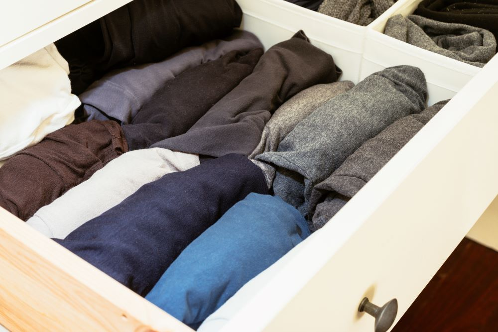 How To Organize Closet - Rolled Up Shirts In Drawer