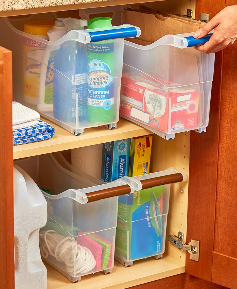 Kitchen Storage Ideas - Slim Rolling Storage Cabinet Bins