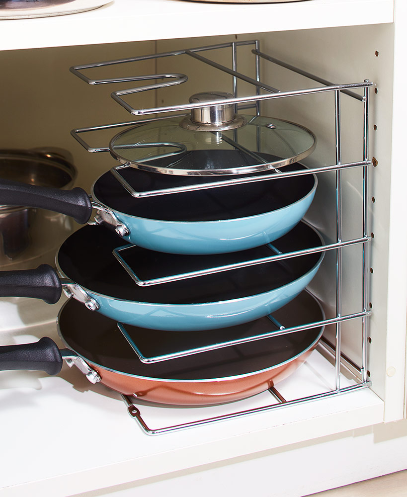 Kitchen Storage Ideas - Skillet And Pan Rack Organizer