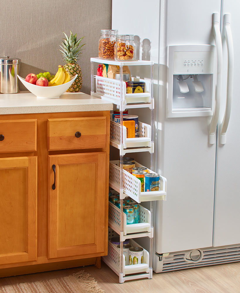 Kitchen Storage Ideas - Slim Rolling Drawer Storage