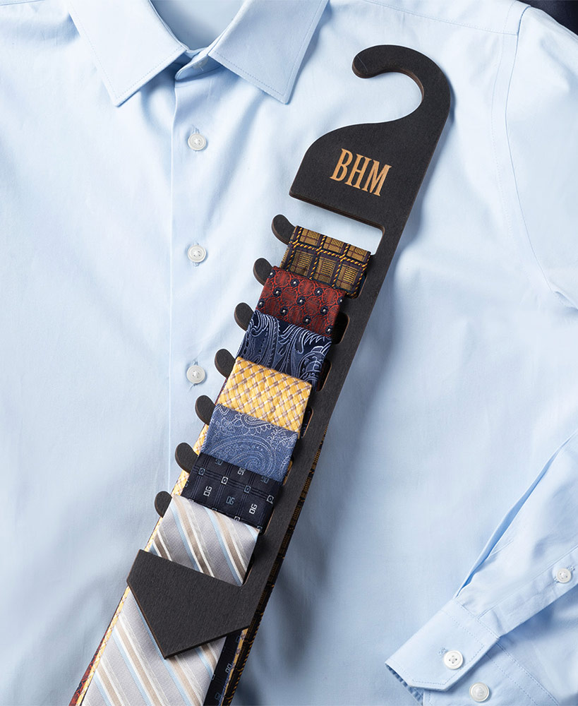 Personalized Wood Tie Rack