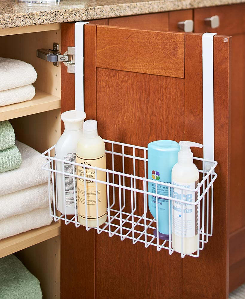 Kitchen Storage Ideas - Cabinet Towel Bar With Basket