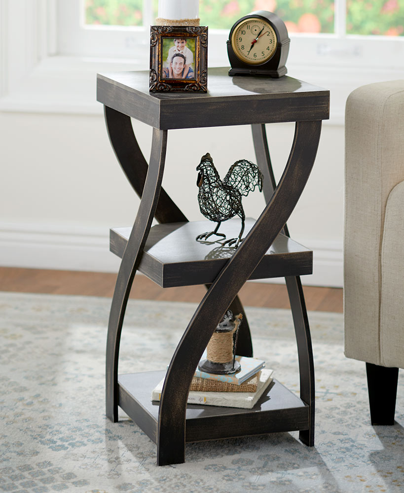 Distressed Wood Twisted Side Table