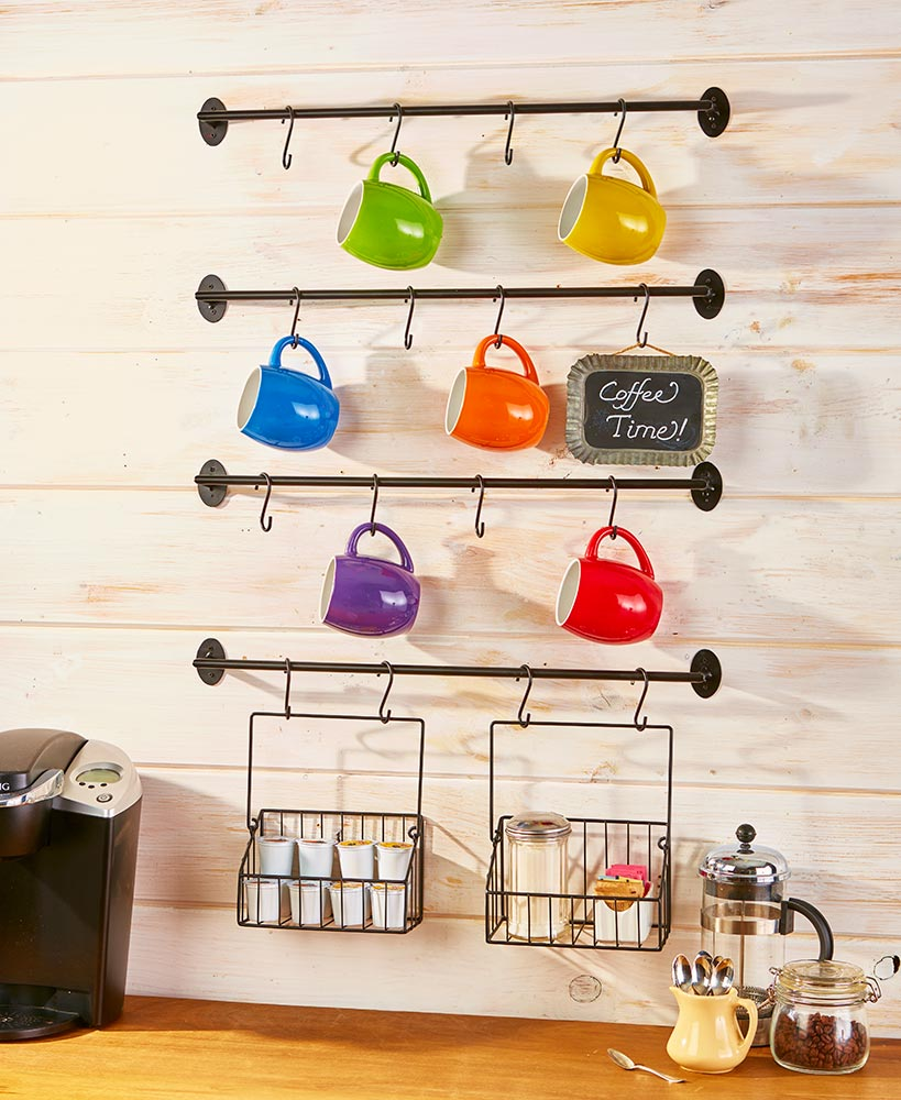 Kitchen Storage Ideas - Wall Mounted Coffee Mug Rack