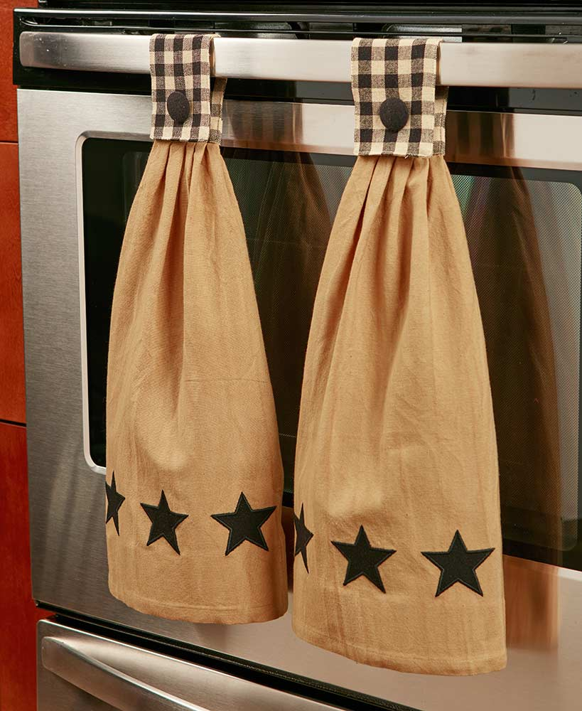 Set of 2 Hanging Country Star Kitchen Towels
