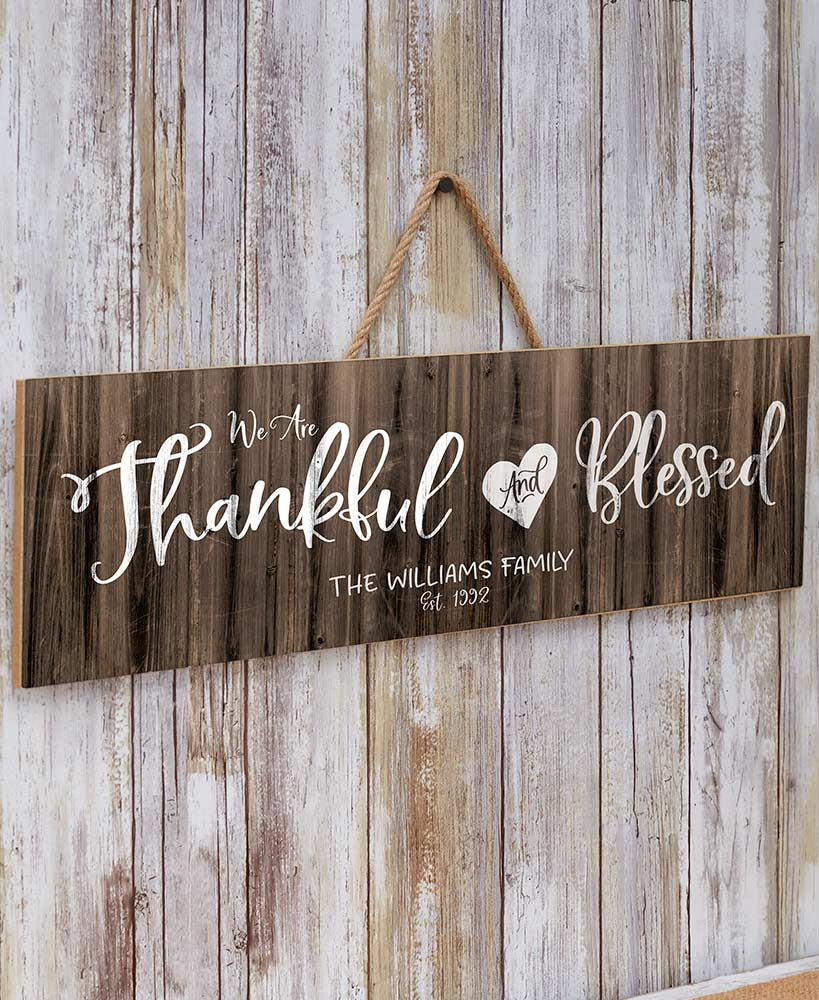 Thankful and Blessed Personalized Plaques