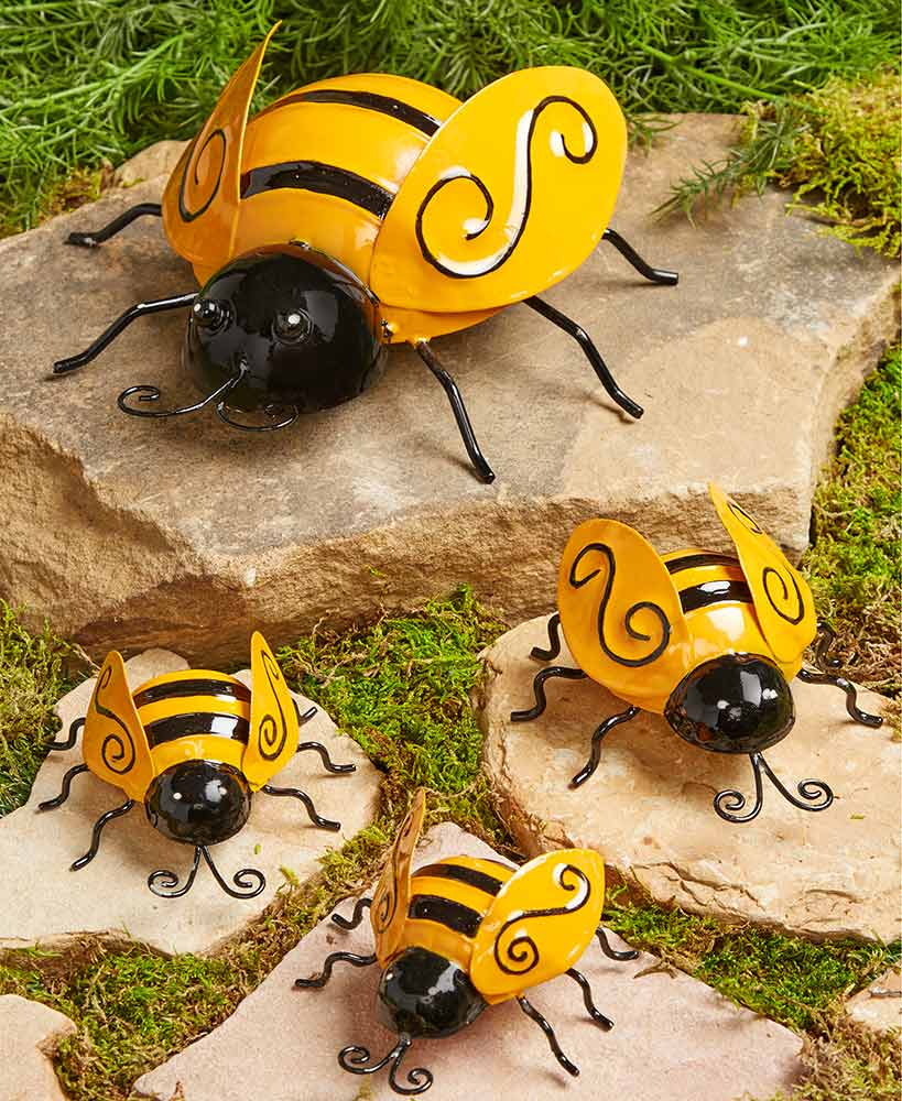 Set Of 4 Metal Garden Bees