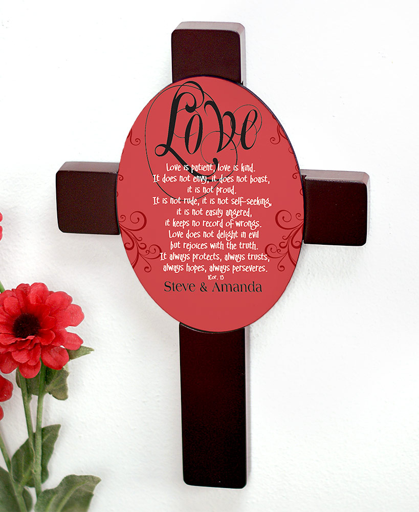 Wedding Gift Ideas - Inspirational Love Is Patient Personalized Cross
