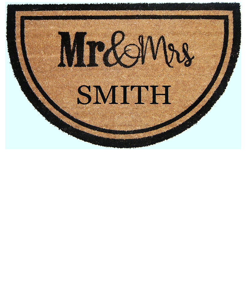 Housewarming Gift Ideas - Personalized Mr. & Mrs. Half-Moon Coir Doormat