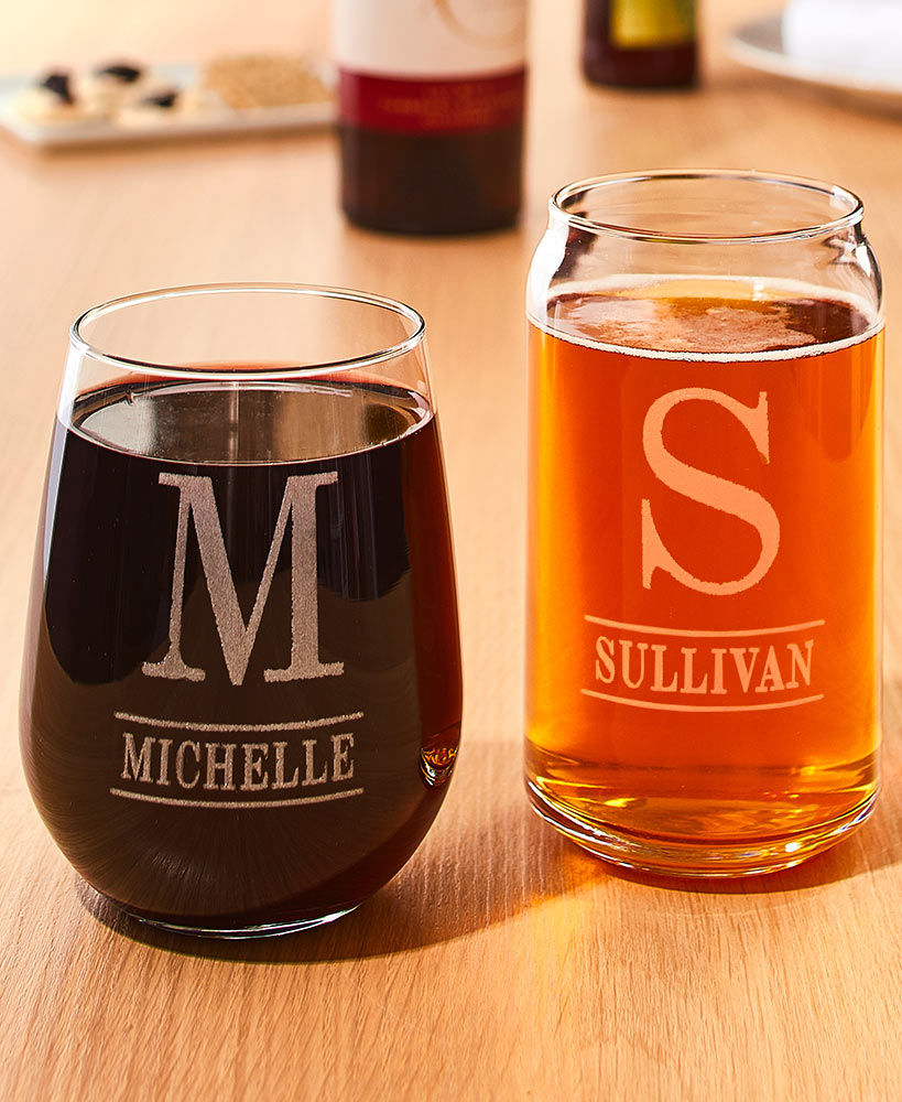 Wedding Gift Ideas - Personalized Etched Wine Or Beer Glasses