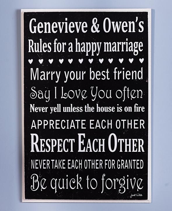 Wedding Gift Ideas - Personalized Marriage Rules Art