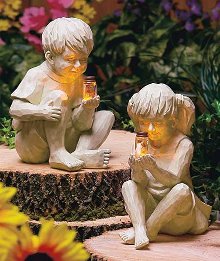 Kids With Solar Fireflies Garden Statues