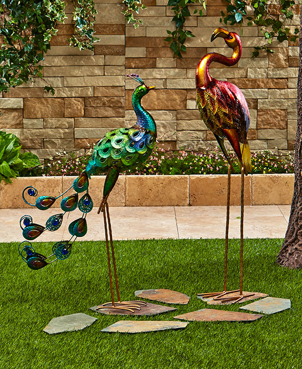 Colorful Metallic Bird Decor