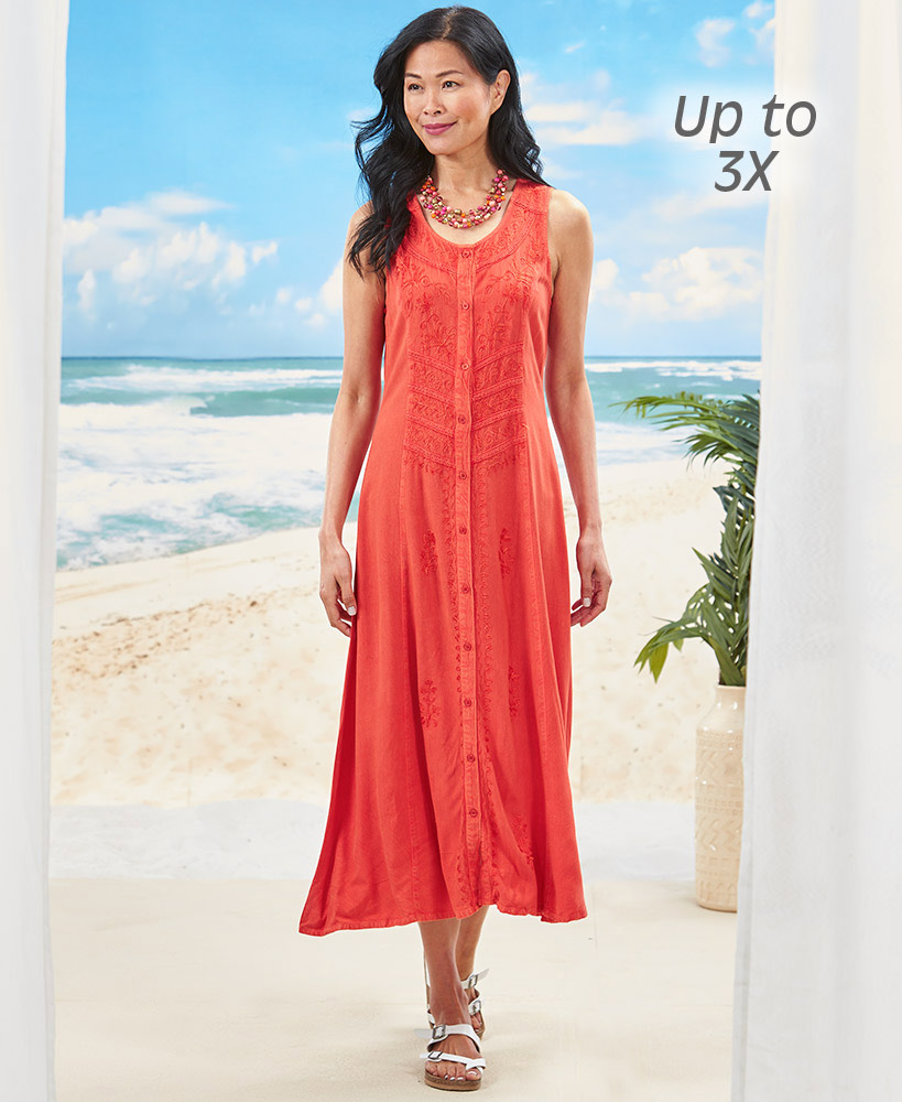 Women's Embroidered Button Front Dresses