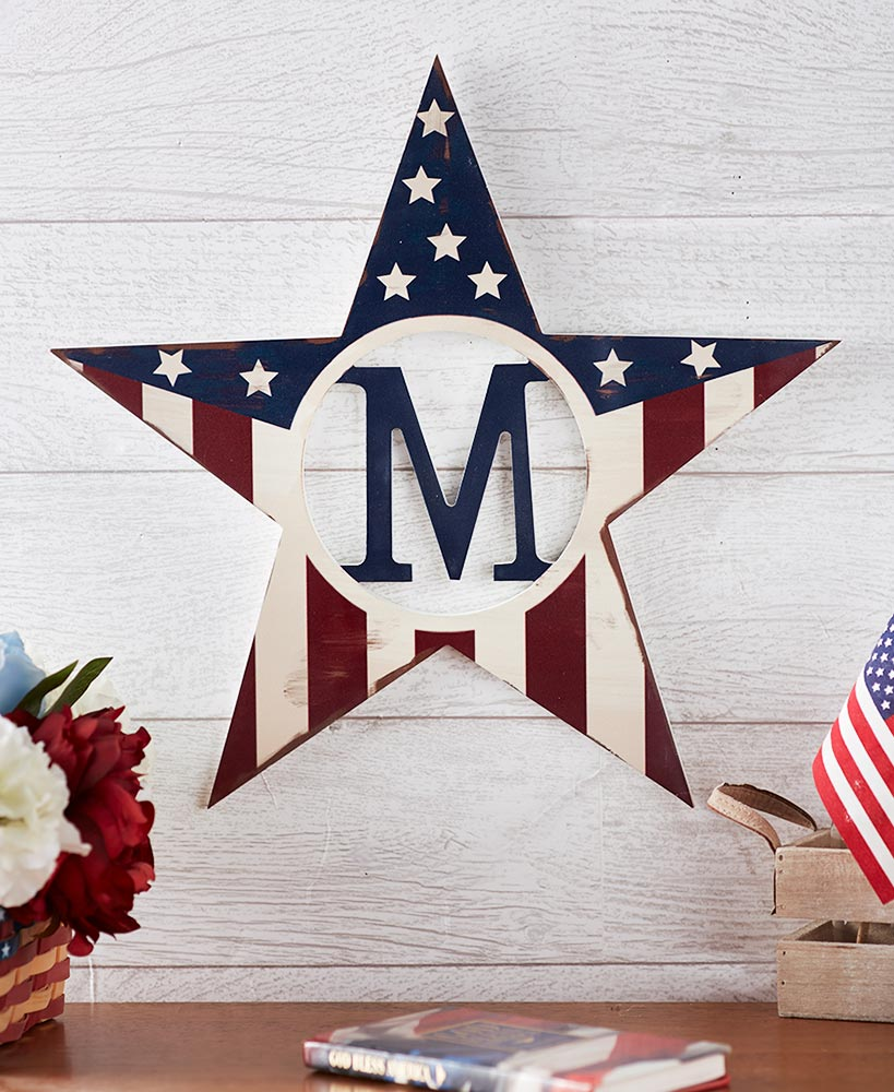 Monogram Patriotic Star Wall Hangings