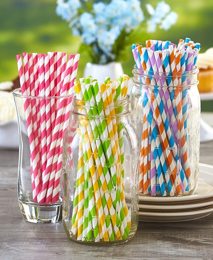 100 Colorful Paper Straw Set