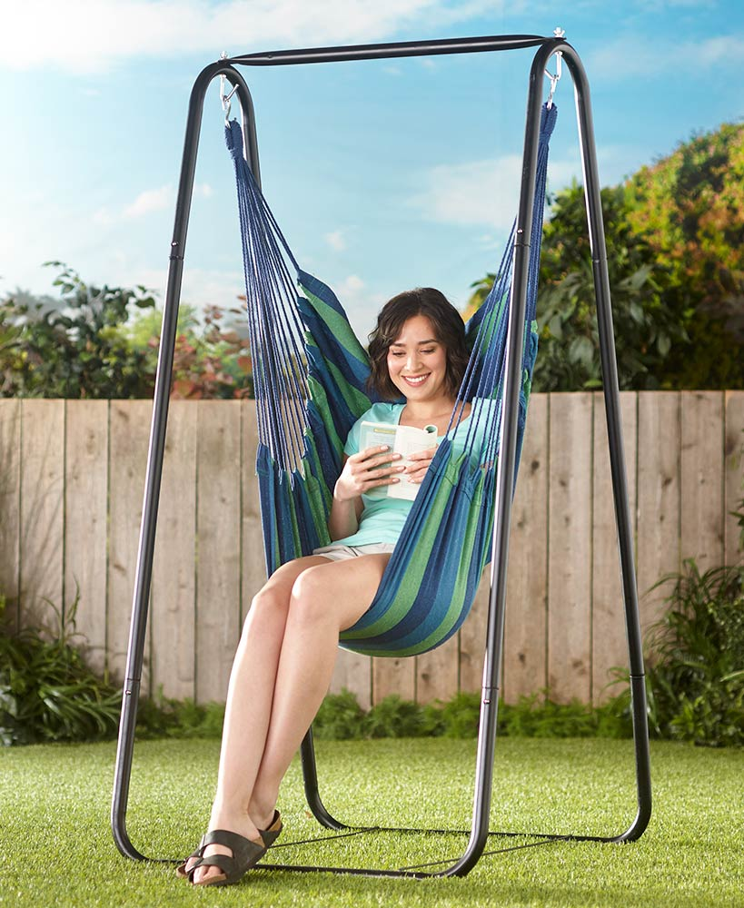 Outdoor Products - Striped Hanging Hammock Chair or Stand