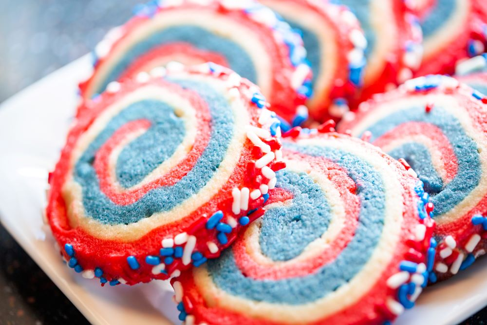 Desserts for the 4th of July - Patriotic Pinwheel Cookies