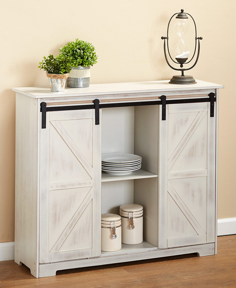 Country Cottage Decor - White Wood Buffet Cabinet
