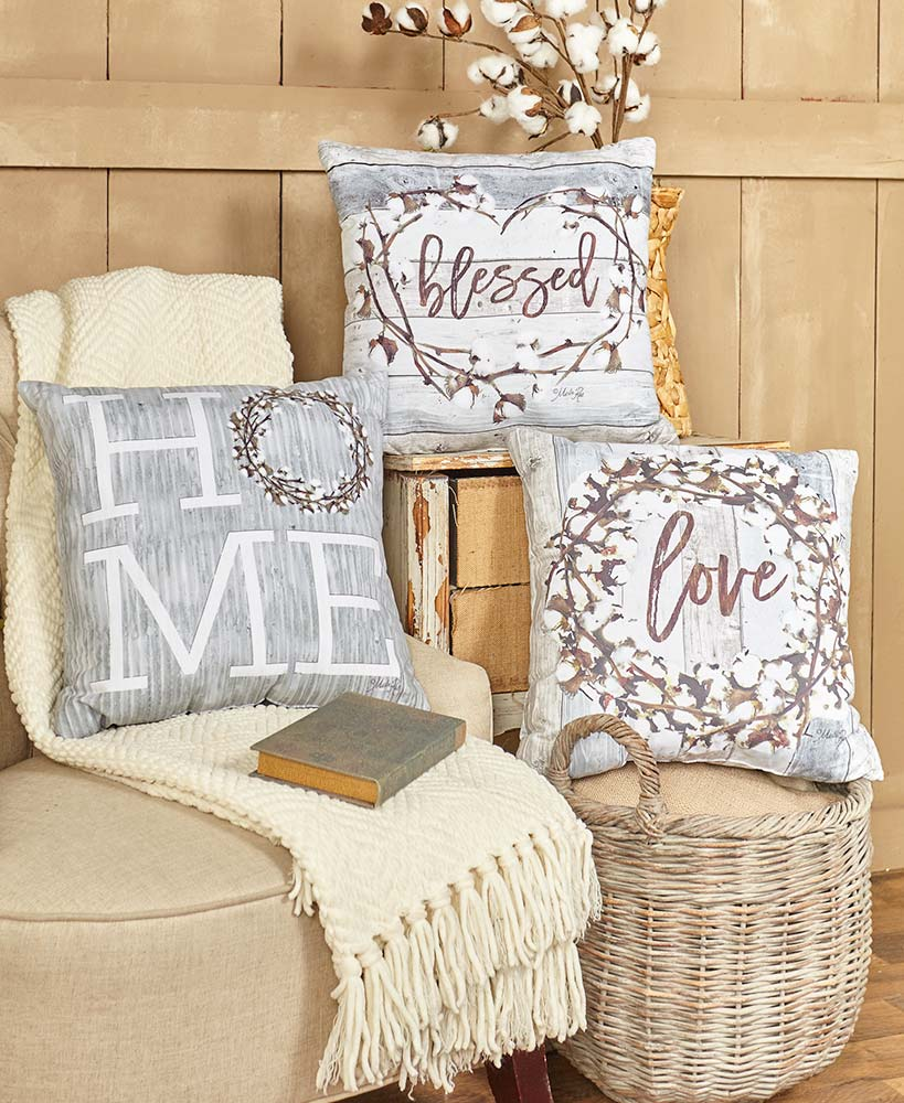 Country Cottage Decor - Cotton Boll Accent Pillows