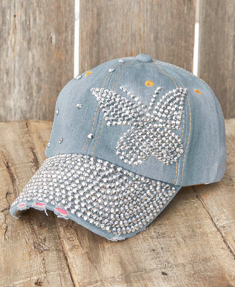 Bling Embellished Denim Butterfly Baseball Hat