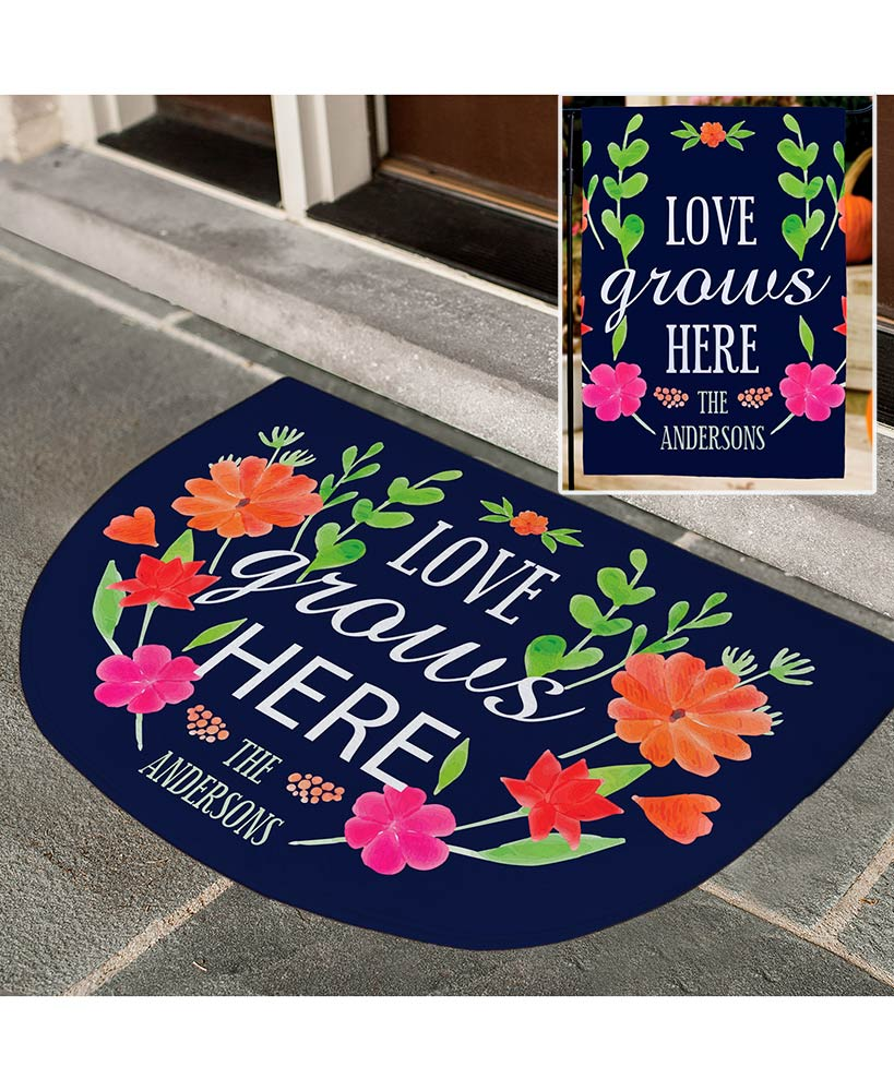 Personalized Love Grows Here Doormat or Garden Flag