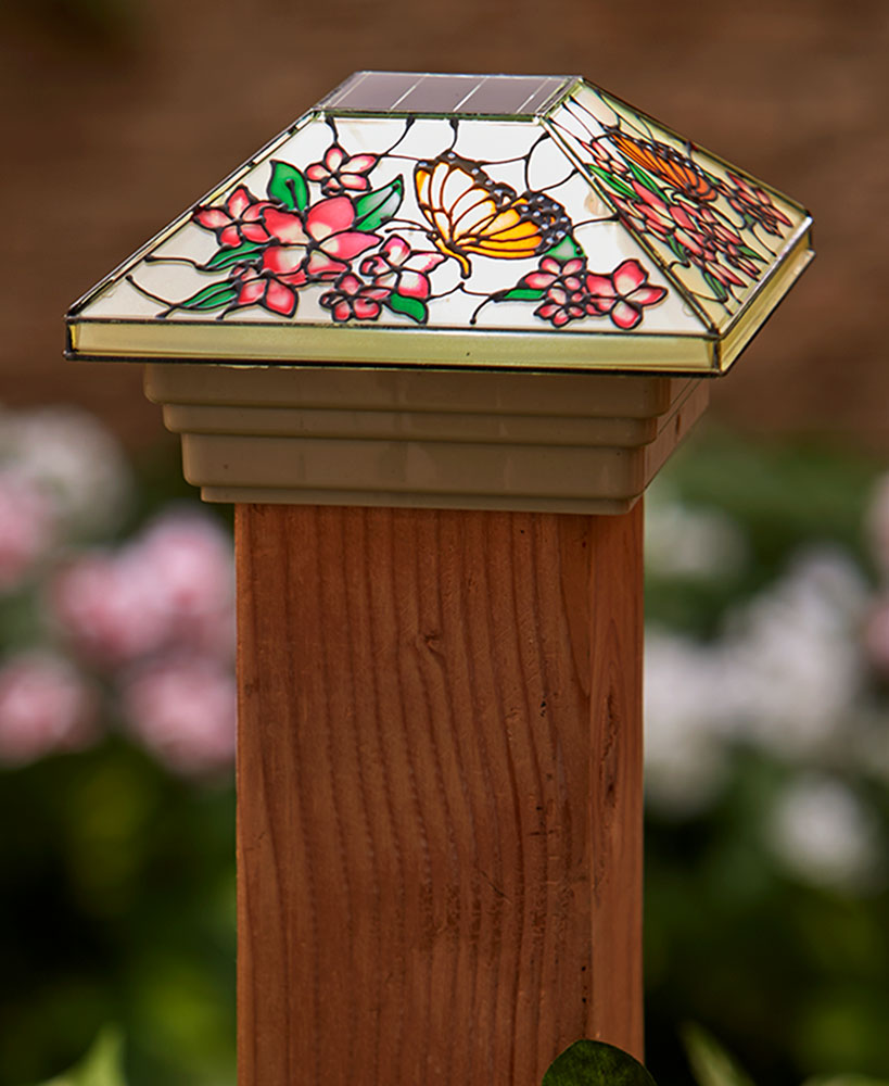 Butterfly Stained Glass Solar Post Cap Lights
