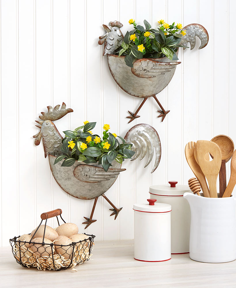 Rooster or Hen Galvanized Wall Planters