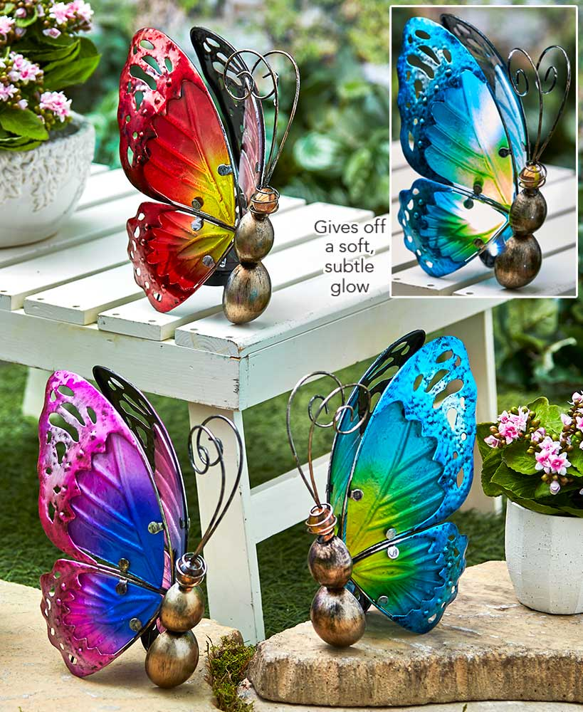 Solar Glass Butterfly Accent Lights