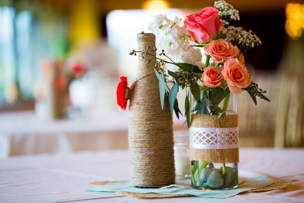 Twine and Burlap Flower Vases