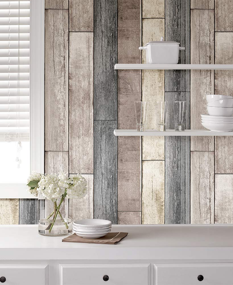 Country Cottage Decor - Peel N Stick Wood Plank Wallpaper